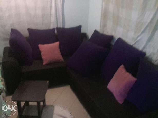 L seven Sitters Soffer on sale . Black in colour Purple BIG cushions . Mtwapa - image 1