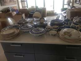 Blue Willow crockery set and antique johnson brothers plates and dish