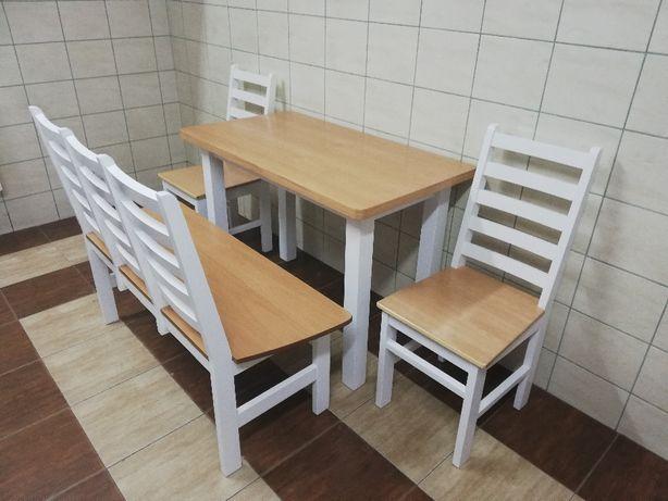 Stół Krzesła ławka Kuchenna Biała Bukowa Sosnowa Salon