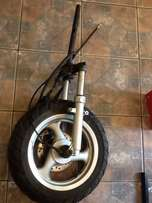 scooter wheel and fork. Go Moto 150cc