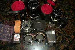 KONICA camera accessories for sale.for the lot