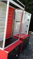Pin Board Glass Display Unit/Cabinet with Sliding Doors and LED Lights