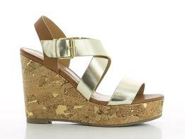 6b8a2436 SPROX nude złote sandały na koturnie 37,41