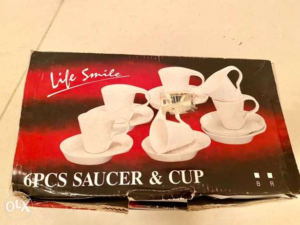 saucer and cup 6 pc new