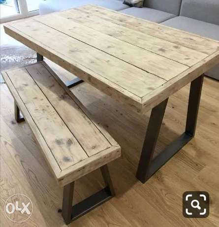 Steel and wood dining large table rustic 100x200 طاولة سفرة حديد وخشب