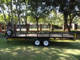 Flatbed Trailer with Double Axle and Run in Brake System for Sale