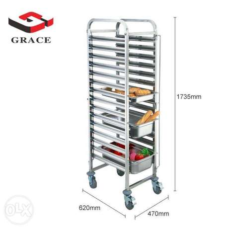GRACE Stainless Steel GN Pan 15 Trays Trolley