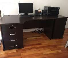 Office desk with drawers & credenza & chair