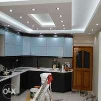 Gypsum ceiling, wallpapers and decorative lighting