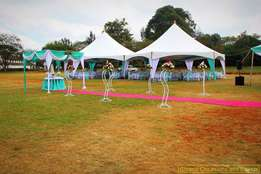 Hexagon tents,Chiavaria seats,Gold & silver vases