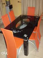 Durable 6 Seater Glass Dining Table Set