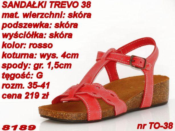 Sandały włoskie TREVO skóra czerwone rozm. 36,39 Wrocław
