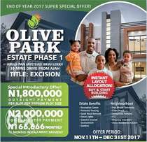 Land With Approved Excision For N1.8M - Olive Park Estate Phase 1