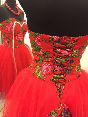 c09d758673 Sukienka Folkowa Czerwona 38 Tiul Kwiaty Gorset Wesele Poprawiny