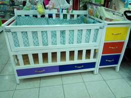 Baby cot, with cot pumpers,& mattress