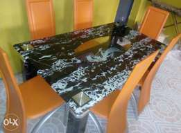 New class glass dining table with chairs