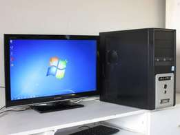 computer for sale with 24'' Sony Bravia TV - dual core windows 7 etc