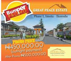 Great peace estate Imota phase1 bumper Promo 450,000 per plot