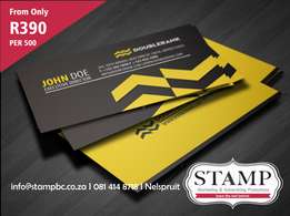 BUSINESS CARDS FROM R390 PER 500 AT Stamp Business Consultants