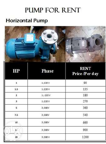 Horizontal Pump for rent