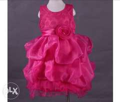 Baby girl sleevless ruffles lace dress pink