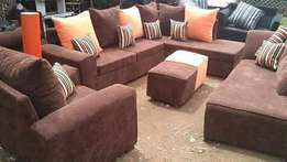 Josiaya furniture Brown sofa with L-shaped sofas