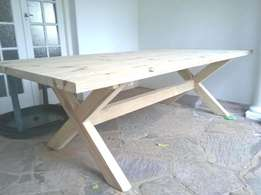 10 Seater Dining Table, 2.5m x 1m, Benches. Oregon. 12, 8, 6,