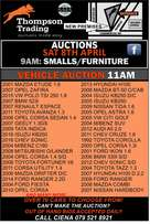 Saturday Auction from 9am! See our ad for details