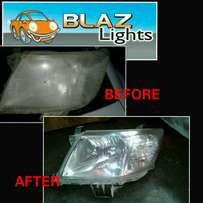 Cleaning of faded car headlights