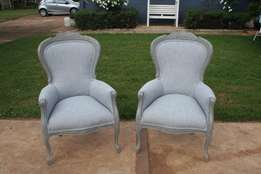Stunning Pair of Queen Anne Arm Chairs