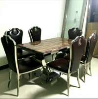 Executive marble dinining by six with six chairs brown