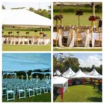 Chairs, tent, tables, stage for hire