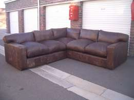 2.75m by 2.75m stunning FULL LEATHER all round L-SHAPED BUFFED BROWN c