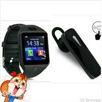 new black watch phone + Bluetooth earphone