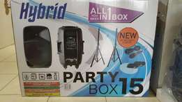 "Hybrid Party Box 15"" speakers limited stock on special"