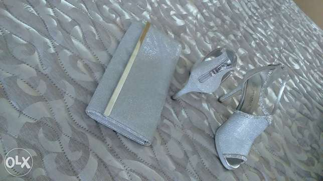 silver glittering heels with matching clutch bag Hendrina - image 1