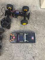 Remote control Tamiya trucks and small helicopter as job lot sale or s