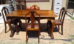 5pce Imbuia Ball & Claw Dining Table and Chairs