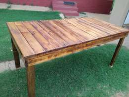 6 seater wooden table