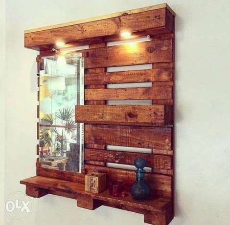 Pallet decor miror and shelf wood rustic طبلية مراية رف خشب
