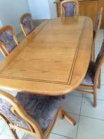 Oak Dining Table and Server-8 Seater
