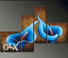 Four pieces flower paintings