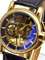 Casual Hand Wind Men's Wristwatches Mechanical Skeleton Watch