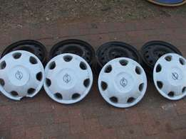 "13"" Steel Rims And Hubcaps for sale"