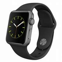 Apple Watch: 38mm Space Grey Aluminum Case with Black Sport Band