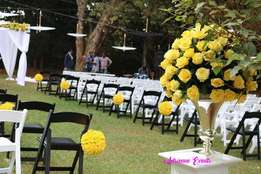 Hexagon tent, Foldable Chairs, Chiavari and Decor Services