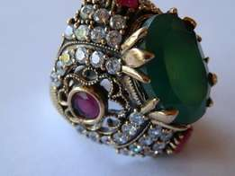 royal piece!!natural Turkish emerald and rubies solid silver ring.