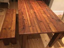 Oregon Pine Dining Table & Two Benches (Four Seater)