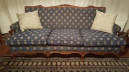 Three seater couch - ball and claw with rose detail