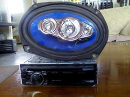 "Pioneer mp3 radio with 6x9"" speakers"